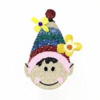 Cor do chapéu menino adesivo de ferro para a roupa lantejoulas patches, apliques de lantejoulas patches para vestuário parches bordados termoadhesivos