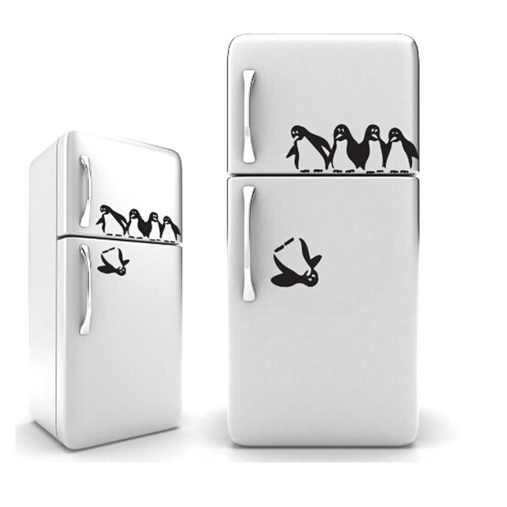 1PC Funny Penguin Kitchen Fridge Sticker DIY Decals Dining Room Kitchen Decorative Wall Stickers Home