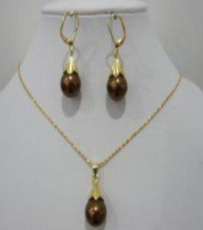 Beautiful Chocolate shell Pearl Pendant Neklace Earring shipping free