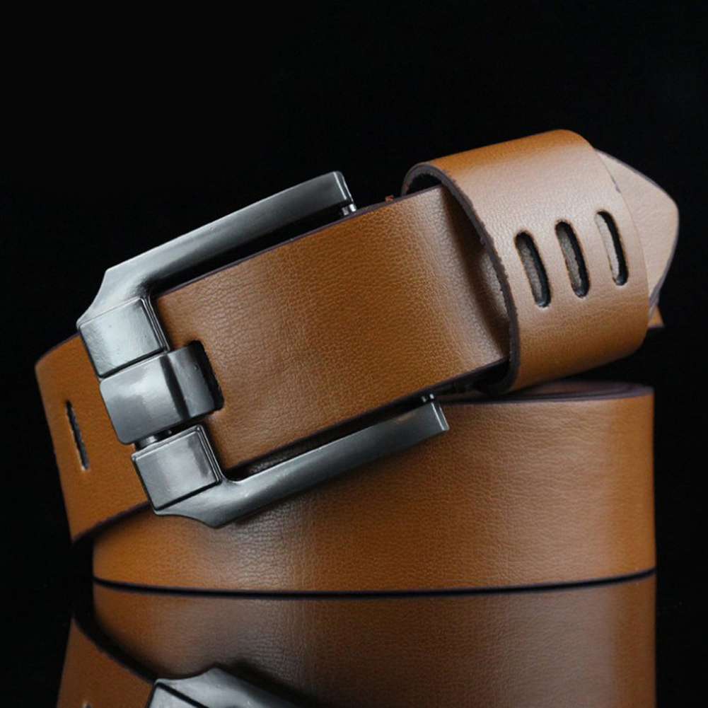 110cm New Men'sLeather Hollow Brown Belt Men Luxury Alloy Wide Buckle Black  Coffee Belts