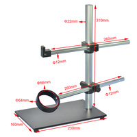 Dual Arm Rotatable Boom Microscope Table Stand Aluminum CNC Heavy Duty Stereo Microscope Stand 56mm Ring Holder