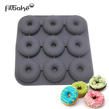 9 Cavity Donut Pan Muffin Cups Silicone Mould Cake Cupcake Liners Doughnut Baking Mold