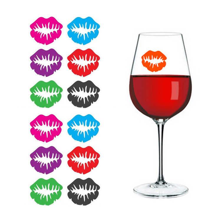 6 unids/bolsa marcador etiqueta labios bebidas Linda silicona copa de vino copa de fiesta gafas con forma de labios etiqueta hogar Cocina bar de