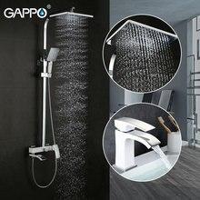 Gappo 1 conjunto sistema de chuveiro + 1 conjunto torneira da bacia fixado na parede água misturadora torneira do chuveiro do banheiro elegante banheira chuveiro conjunto