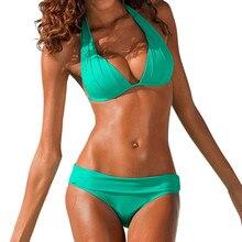 SAGACE, два предмета, сексуальное одноцветное бикини, с подкладкой, бразильский стиль, Ретро стиль, пляжная одежда,, летний пуш-ап, средняя талия, купальник, купальник