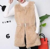 MUMUZI New Arrival 2018 Winter Warm Fashion brand Women Real Fur Vest Rabbit Fur Coat Fur Vest Colete Feminino Slim Waist Parkas