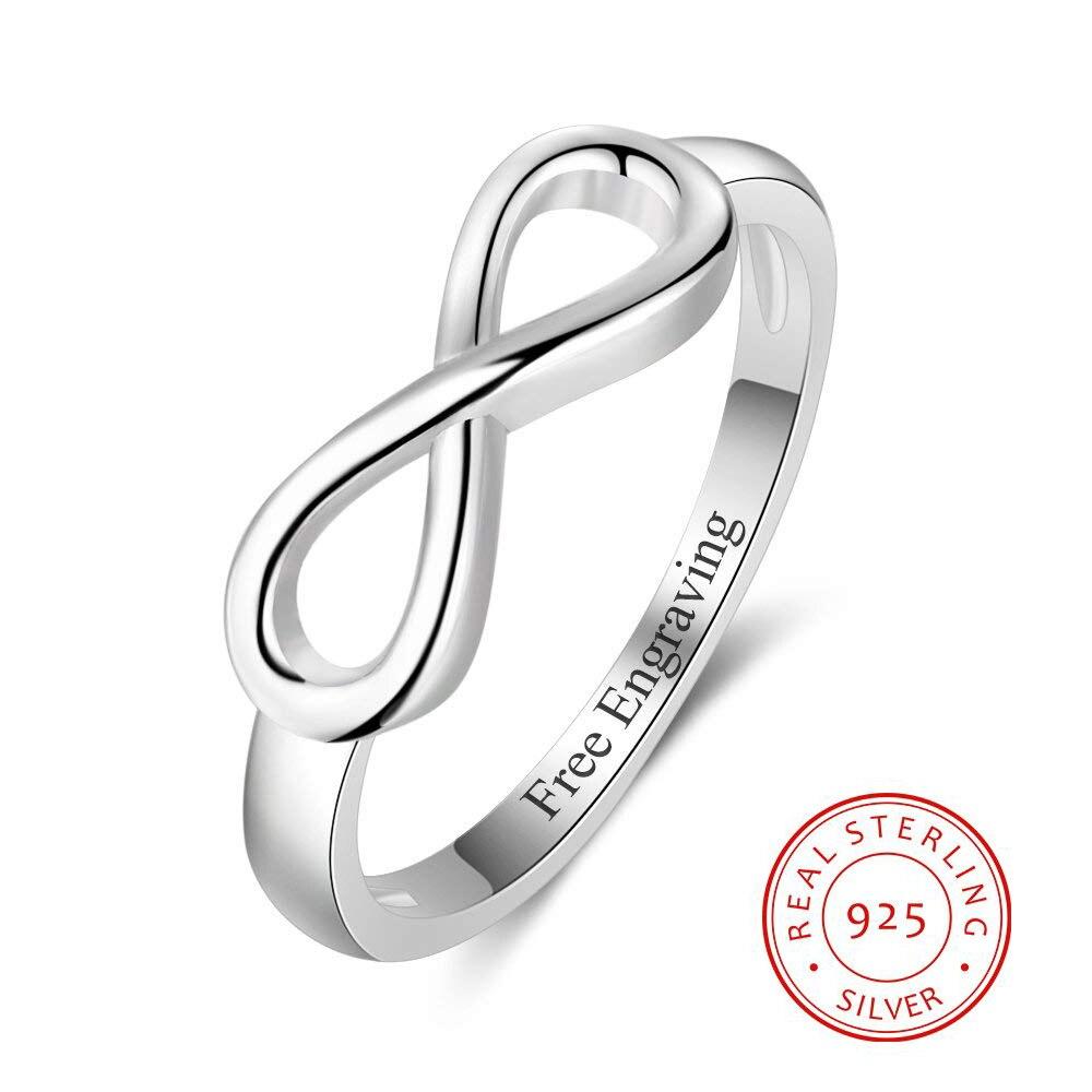 Personalizado 925 Esterlina Anéis De Prata Infinito para Mulheres Gravura Promessa Anéis de Noivado Anel de Casamento Eternidade (RI103716)