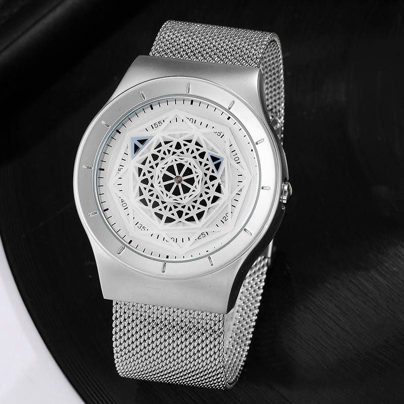 Creative Fashion Turntable Men Watches New Fashion Top Brand Black Steel Mesh Astrolabe Dial Unique Womens Mens Watches Relogio кабельный щит brand new f98 85 58 33 sbd7781