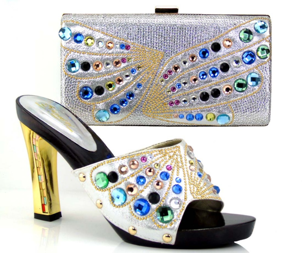 Matching italian shoes and bag set with free shipping open toe heels sandal african shoes and