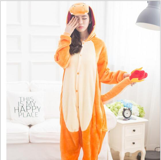 New Arrival Adult Charmander Cosplay Costume Fire Dragon Anime Pokemon Fleece Sleepwear Pajamas Cute Unisex Onesie Charmander