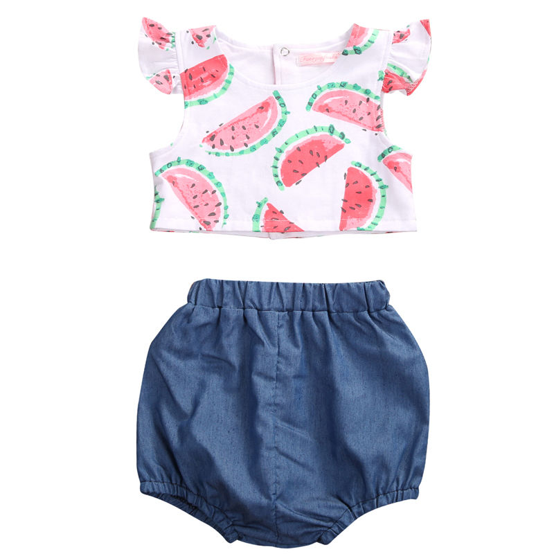2017 Cute Newborn Baby Girl Clothes Set 2PCS Watermelon Crop Tops + Denim Shorts Bloomers Outfits Bebek Giyim Children Clothing 2017 newborn baby boy girl clothes floral infant bebes romper bodysuit and bloomers bottom 2pcs outfit bebek giyim clothing