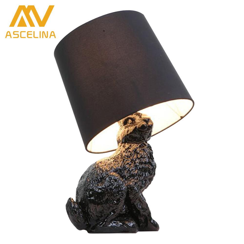 ФОТО Modern Table Lamps With Black/White Shade Lovely Resin Rabbit Table Lights For Bedside Decoration For Bedroom