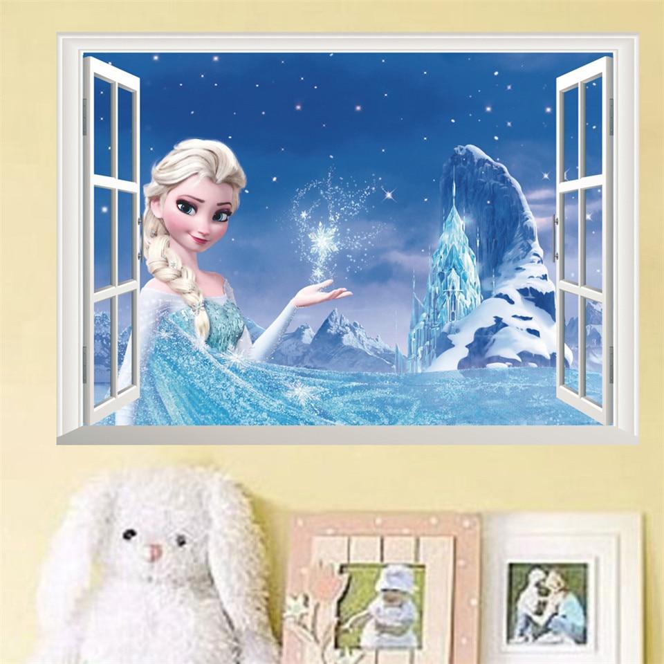 Princess Elsa Snow Queen Anna 3D False Window Wall Sticker