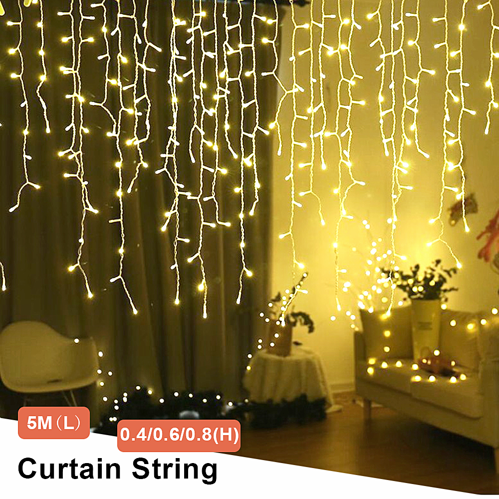 Led String Valentine Christmas Fairy Lights Outdoor/Indoor Decoration 5M Droop 0.4-0.8m Curtain Garland Street Led Icicle Lights