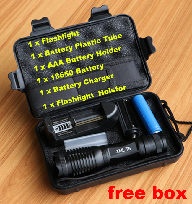 Lanterna 10000lumens Adjustable Tactical zoomable Flashlight CREE XM-L2 T6 LED light Torch+18650 Battery +Charger+holster+box