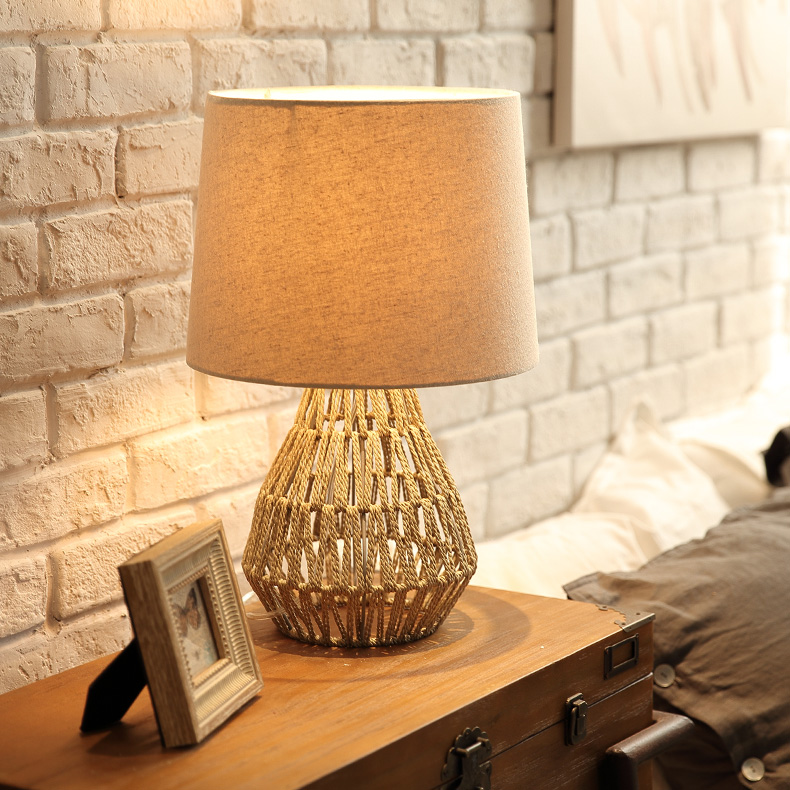 modern table lamp hand knitted hemp rope table lights living room bedroom table lighting fabric shade bedside desk lamp fixturesmodern table lamp hand knitted hemp rope table lights living room bedroom table lighting fabric shade bedside desk lamp fixtures