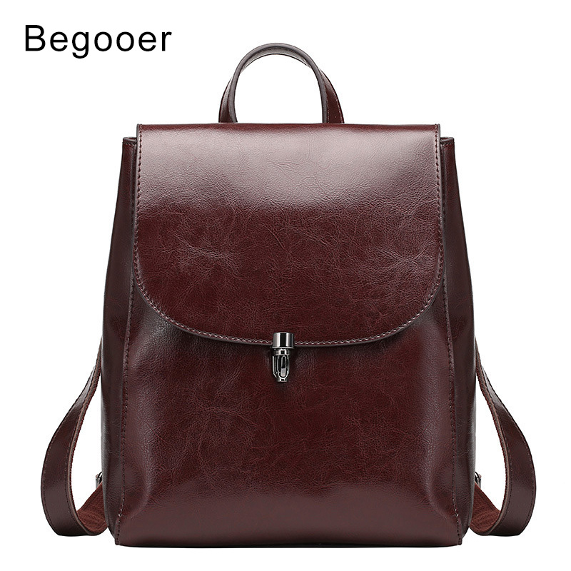 Fashion Genuine Leather Backpack Women Bags Backpack Girls School Bags Leather Retro Backpack Anti theft Women