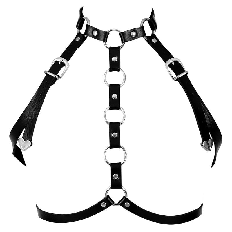 Dropwow Pentagram Leather Harness Caged Bra Belt Lingerie Fetish For