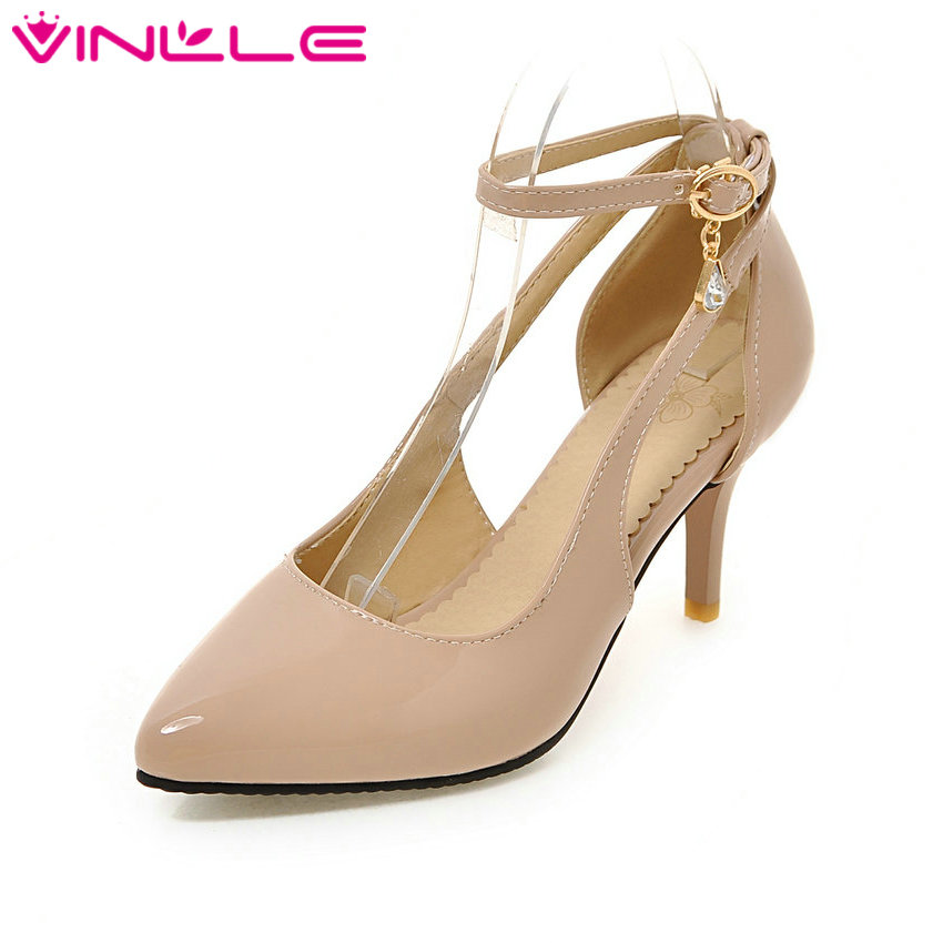 VINLLE 2017 Woman Pumps High Heel Pu Ankle Strap Wedding Women Shoes Pointed Toe Spring Autumn  Party /OL Shoes Big Size 34-43 vinlle 2017 sweet rome style women pumps party summer shoes pointed toe square low heel lace up wedding woman shoes size 34 43
