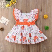 Halloween Girl Pumpkin Printed Swing Dress