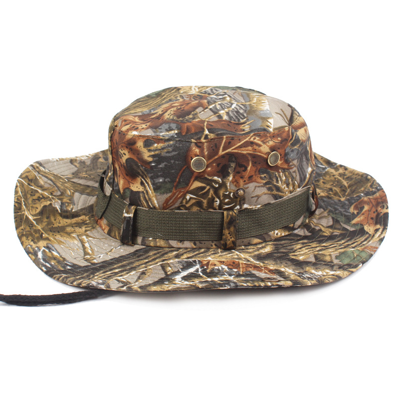Outdoor Canvas Cap Military Panama Safari Boonie Sun Hats Summer Men Women Camouflage Bu ...