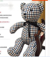 creative new plush simple blue check cloth bear toy lovely bear toy gift doll about 75cm