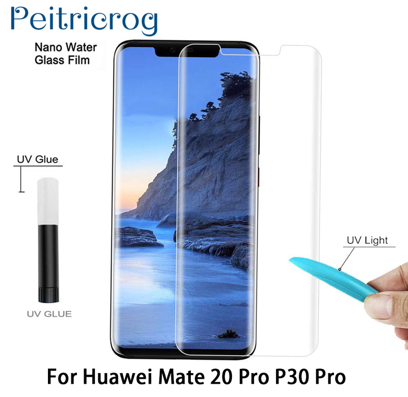 UV Glue Screen Protector For Huawei Mate 20 Pro Lite  Tempered Glass Full Cover For Huawei P30 Pro P30 UV Liquid Protector-in Phone Screen Protectors from Cellphones & Telecommunications