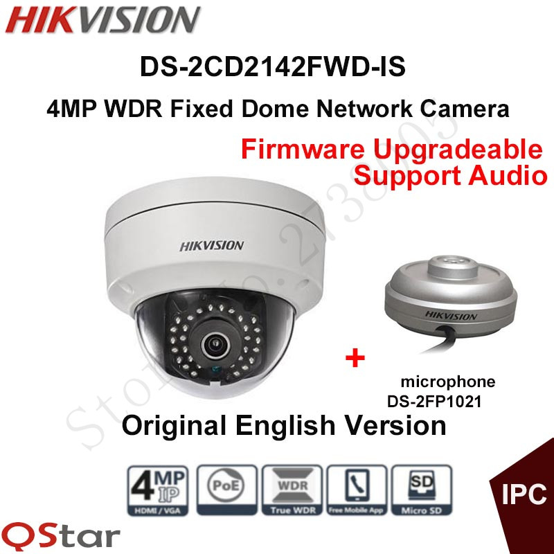 Hikvision Original English CCTV Camera DS-2CD2142FWD-IS 4MP Fixed Dome IP Camera POE Audio IP67+Mini Microphone DS-2FP1021 hikvision original english cctv camera ds 2cd2142fwd is 4mp fixed dome ip camera poe audio ip67 junction box ds 1280zj dm18