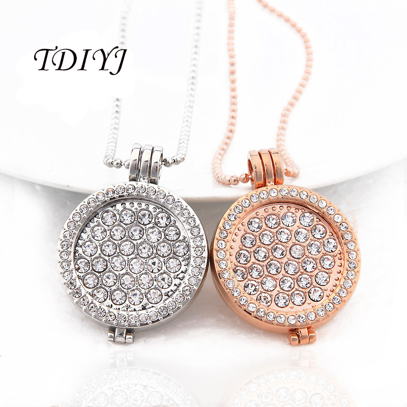 Interchangeable Disc Necklace: TDIYJ Bijoux My Coin Big White CZ Crystal Coin Collares