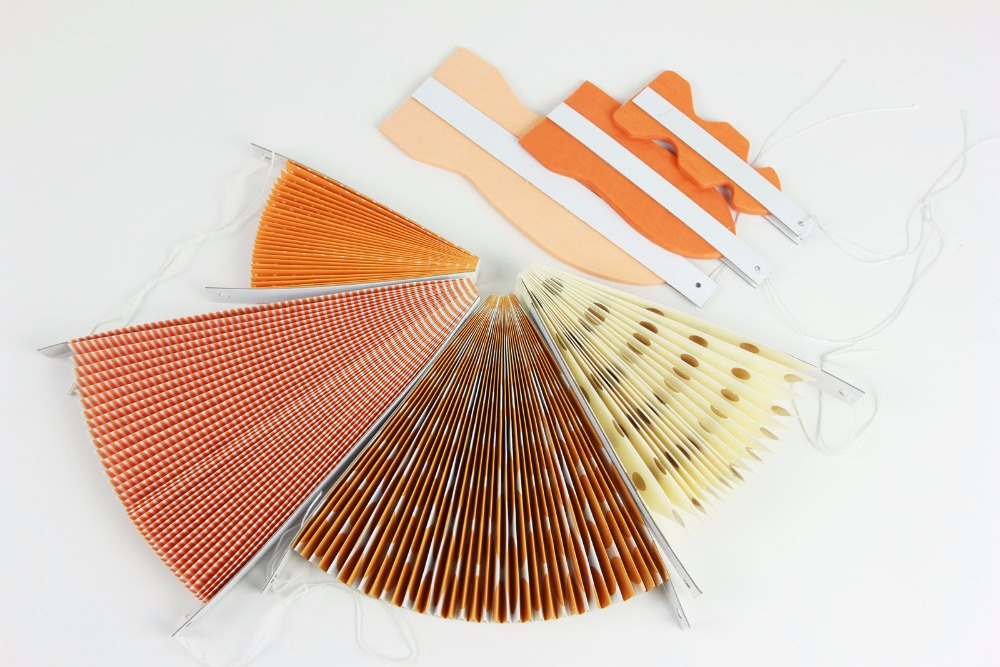 New Orange Set Paper Crafts Home Hanging Decoration Party Birthday Wedding Baby Shower Sunshine Bright Color Paper Fan 5