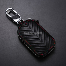 Car key wallet case Genuine Leather for Nissan Qashqai Titan Armada Sentra Maxima Leaf Versa Pulsar