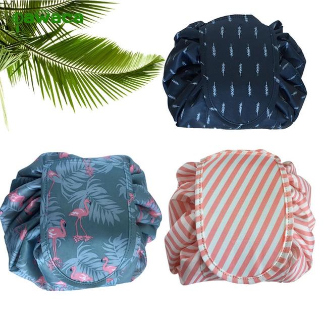 2ca5109292 LHLYSGS Brand Drawstring Style Lazy Cosmetic Bag Fashion Flamingo Pattern Makeup  Bag Women Magic Storage Beauty Organizer Bags