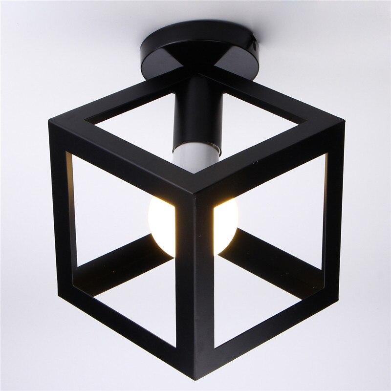 Gewidmet E27 Moderne Schwarze Vogelkäfig Form Deckenleuchte Runde Panel Nacht Lampe Wohnzimmer Flur Café Wohnkultur Innen Beleuchtung