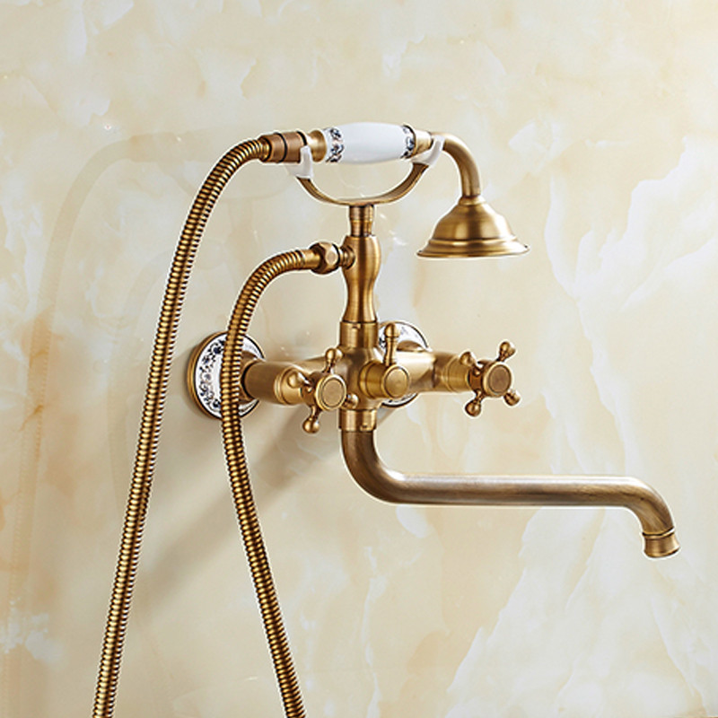 Bathtub Faucets Wall Mounted Antique Brass Bathtub Faucet With Ceramic Handle Shower Bathroom Bath Shower Faucets Tap Torneiras bathtub faucets antique brass bath rain shower faucet head and handheld shower faucet 2 handel bathroom wall mounted tap lj10119