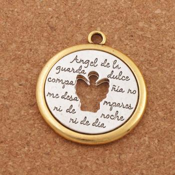 2pcs Angel De Li Guanda Dulce Pendant 42x38mm Two-Tone Necklace Pendants Charm Beads L1777 image