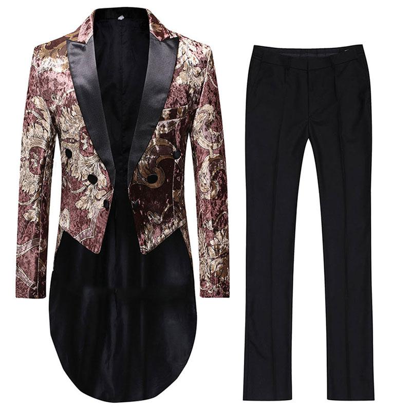 YUNCLOS 2019 جديد الرجال اللباس بدلة الزفاف دعوى للرجال واحدة الصدر ملابس رجالي تلائم الرجل النحيف البدلات الرسمية 2 قطعة (سترة + بانت) الدعاوى-في بدلة من ملابس الرجال على  مجموعة 3