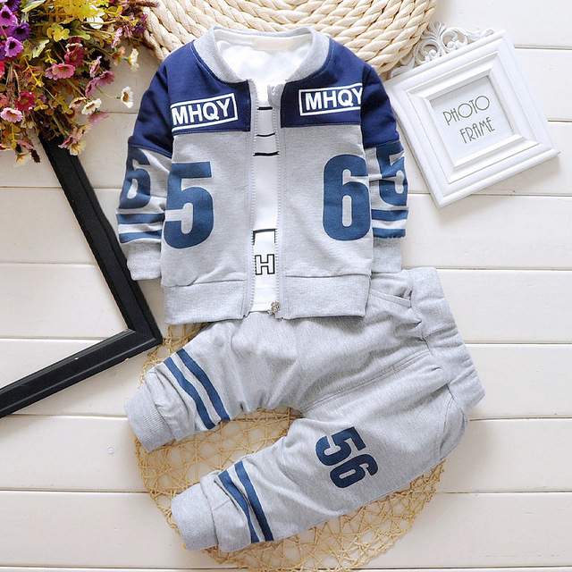 2016 winter children's clothing set kids Cartoon latter T-shirt hoodie coat + pants 3pcs suit baby boy cotton set
