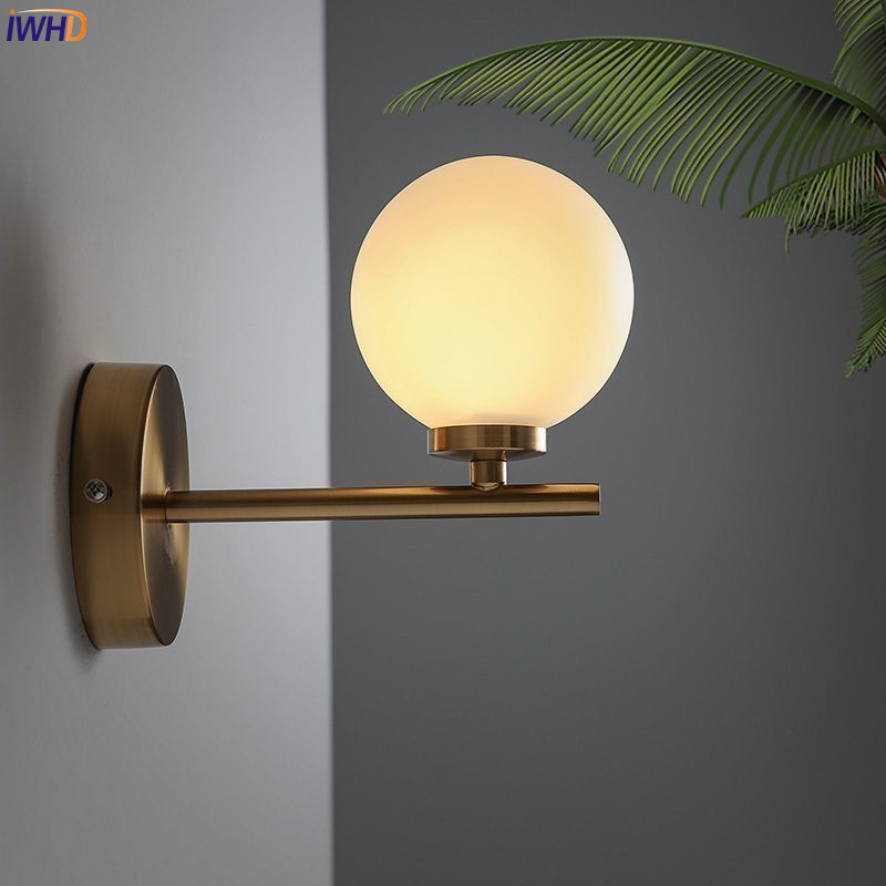 IWHD Nordic Glass Ball LED Wall Lamp Beside Bathroom Bedroom Modern Wall Lights Sconce LED Stair Light Lampara Pared modern acrylic led wall lights bedroom bedside wall lamp lampara de pared bed room decoration lighting wall sconces