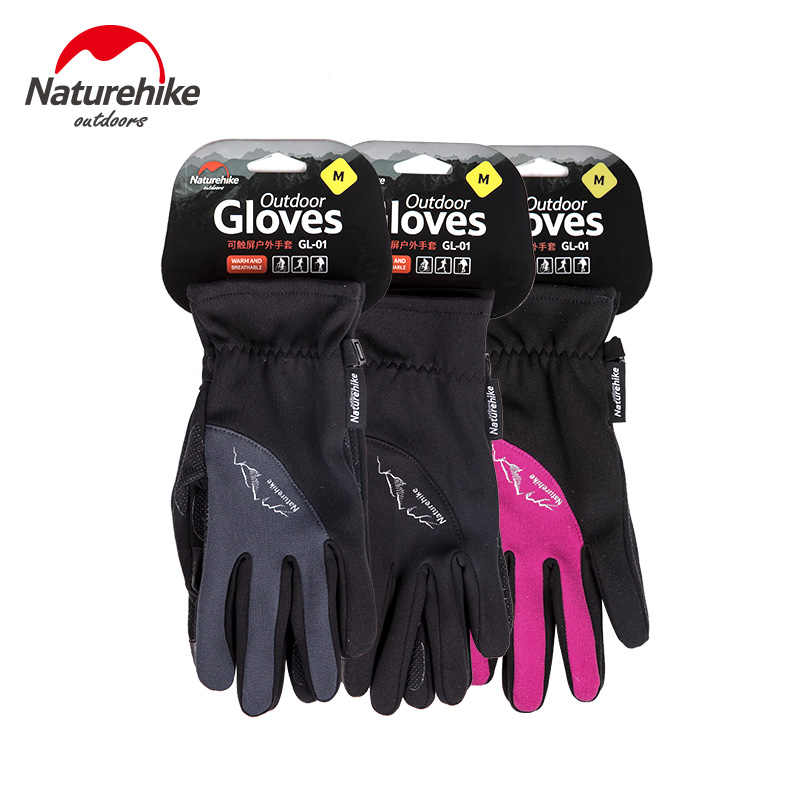 Naturehike fabrika mağaza kış erkekler kadınlar açık spor sıcak polar dokunmatik ekran eldiveni tam parmak tırmanma bisiklet eldiveni