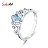 Szjinao 925 Sterling Silver Crown Wedding Rings For Women Retro 0 36CT Heart Shape Blue Rhinestone