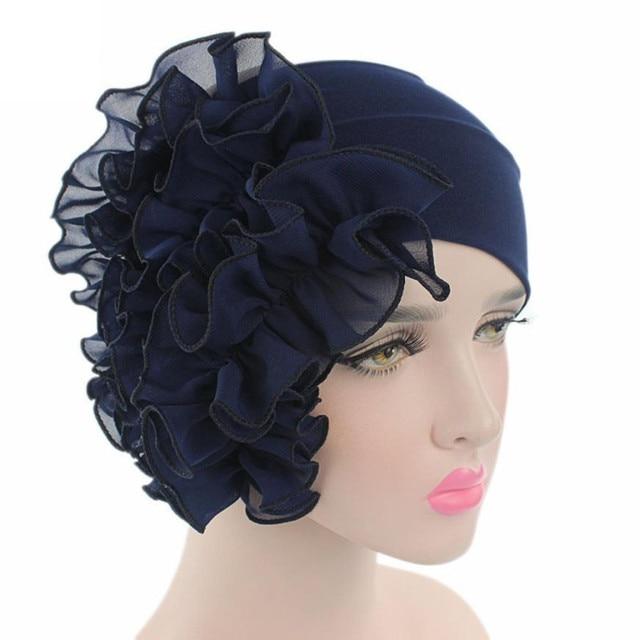 Retro Mulheres Gorro Sólida Floral Chapéus de Inverno Para Meninas Desgaste  Do Partido Beanie Scarf Turban 68d18942d93