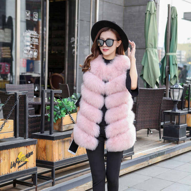 Uppin зима теплый жилет Новинка модные женские туфли импорт пальто меховой жилет высокого-Класс искусственного меха пальто лисий мех длинный жилет плюс Размеры S-3XL
