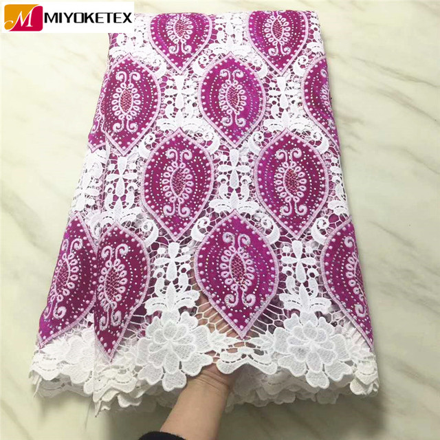 Guipure Lace Fabric High Quality French Mesh Lace Fabric With Stones&Velvet Nigerian Milk Silk Lace Fabrics For Dresses PLA40-1