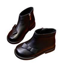Genuine Leather Children Shoes 2018 Autumn New Children's Boots Girls Martin Boots Fashion Simple Butterfly knot Kids Warm Shoes