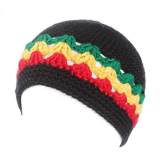 Winfox Fashion Male Knitted Crochet Jamaican Rasta Hat Dreadlocks Winter  Warm Wool Beanies Hats For Women Men Bob Marley Cap 04d1ed1d865