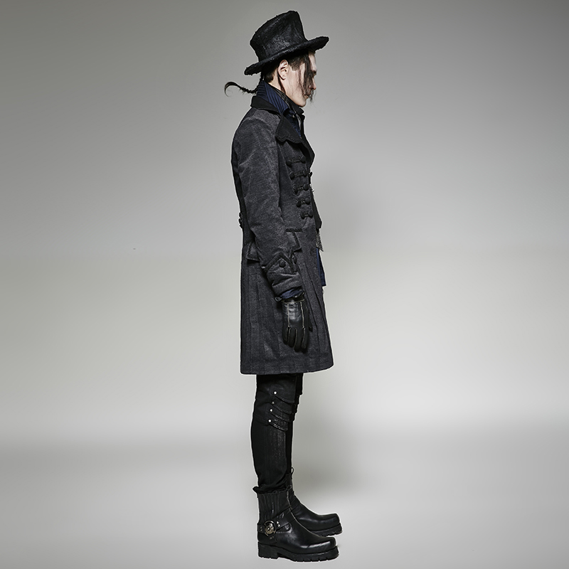 Col Manteau Longue Boutons Noir Veste Mode Haut Steampunk Hommes Décoratifs Rétro De Hiver Vestes Black Ybf76gy