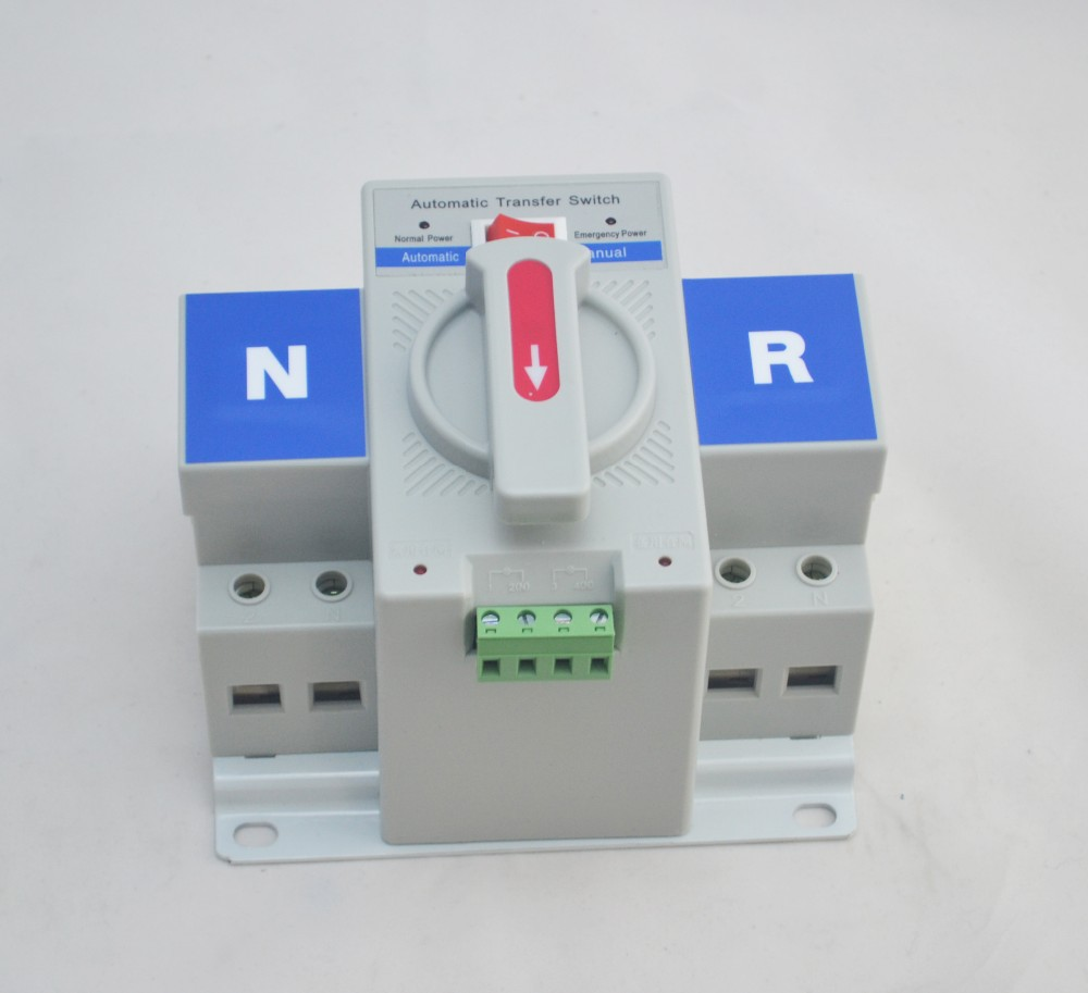 2P 63A 230V MCB type white color  Dual Power Automatic transfer switch ATS Rated voltage 220V /380V Rated frequency 50/60Hz 1pcs micro circuit breaker 2p 63a 230v mcb type dual power automatic transfer switching equipment