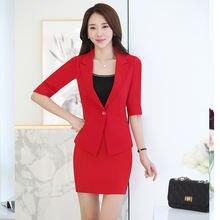 Женский офисный костюм izicfly Красный Блейзер с юбкой элегантный
