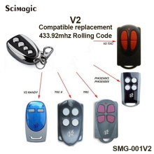 V2 Garage Door Remote Control V2 TXC V2 HANDY TSC4 TRC PHOENIX2 Rolling code 433.92mhz handheld transmitter to replace Command v2 compatible remote for v2 garage door remote model v2 txc phoenix2 phoenix4 tsc4 trc v2 handy remote compatible