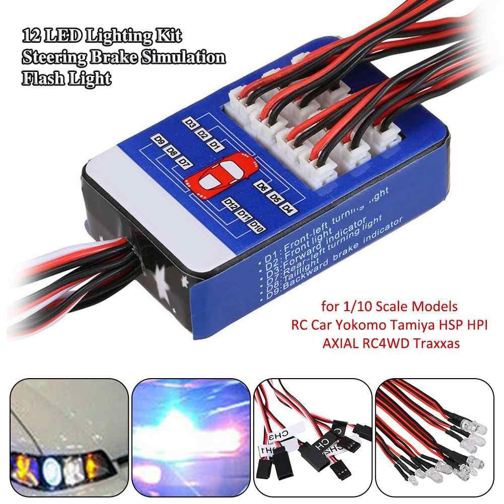 Kit de iluminación LED de 12 luces Flash de simulación de freno de dirección para modelos de escala 1/10 coche RC Yokomo Tamiya HSP HPI AXIAL RC4WD Traxxas
